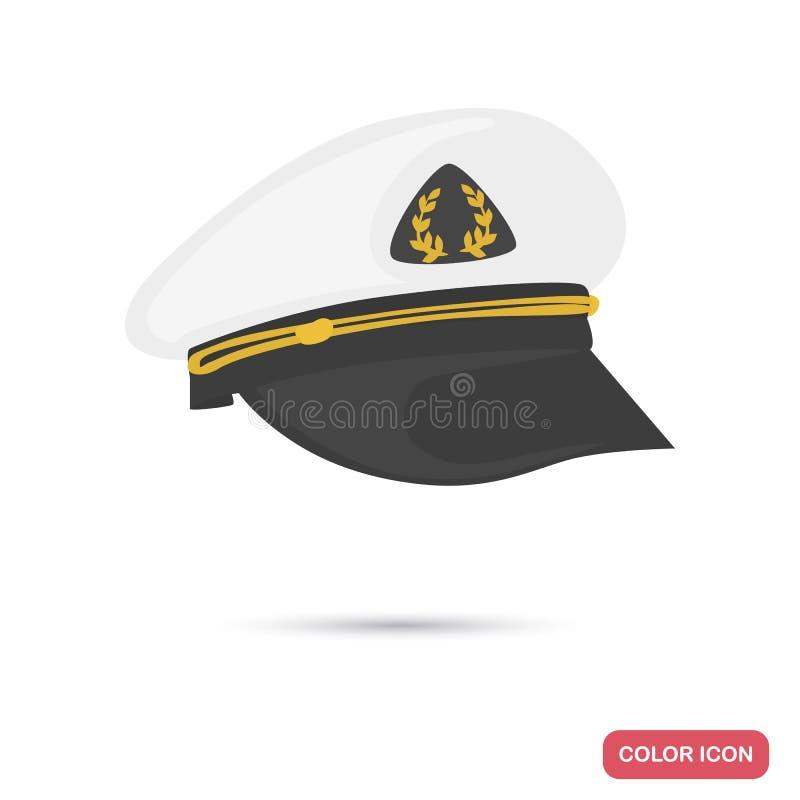 Ícone liso da cor do chapéu do capitão de navio para a Web e o projeto móvel ilustração do vetor