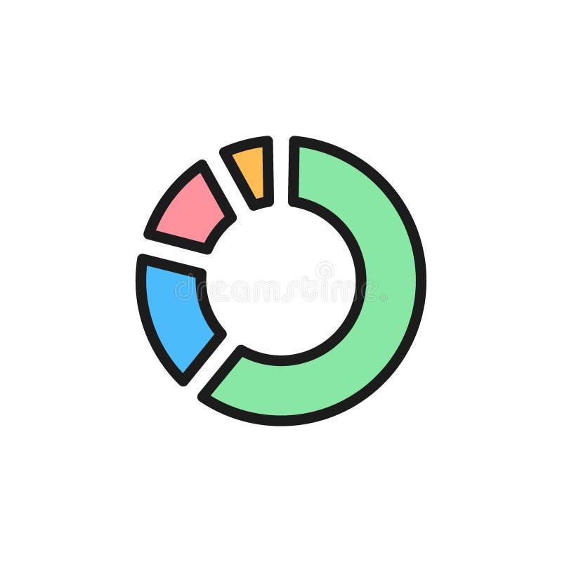 Ícone liso da cor do diagrama da porcentagem do círculo do vetor ilustração royalty free