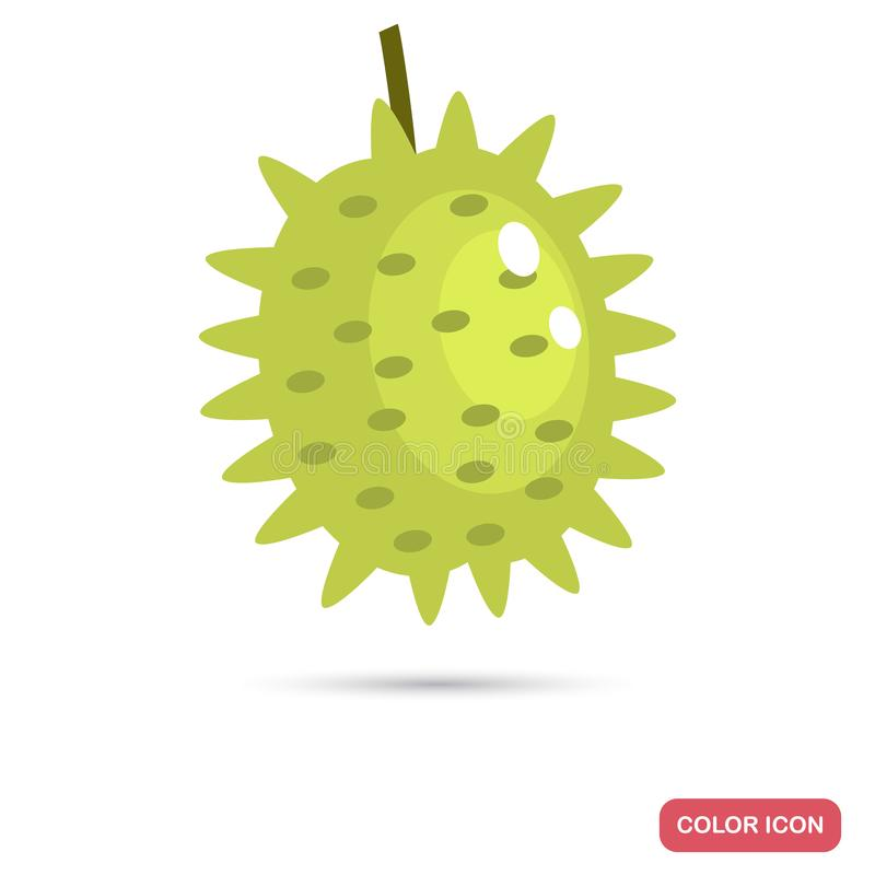 Ícone liso da cor do fruto do Durian ilustração stock