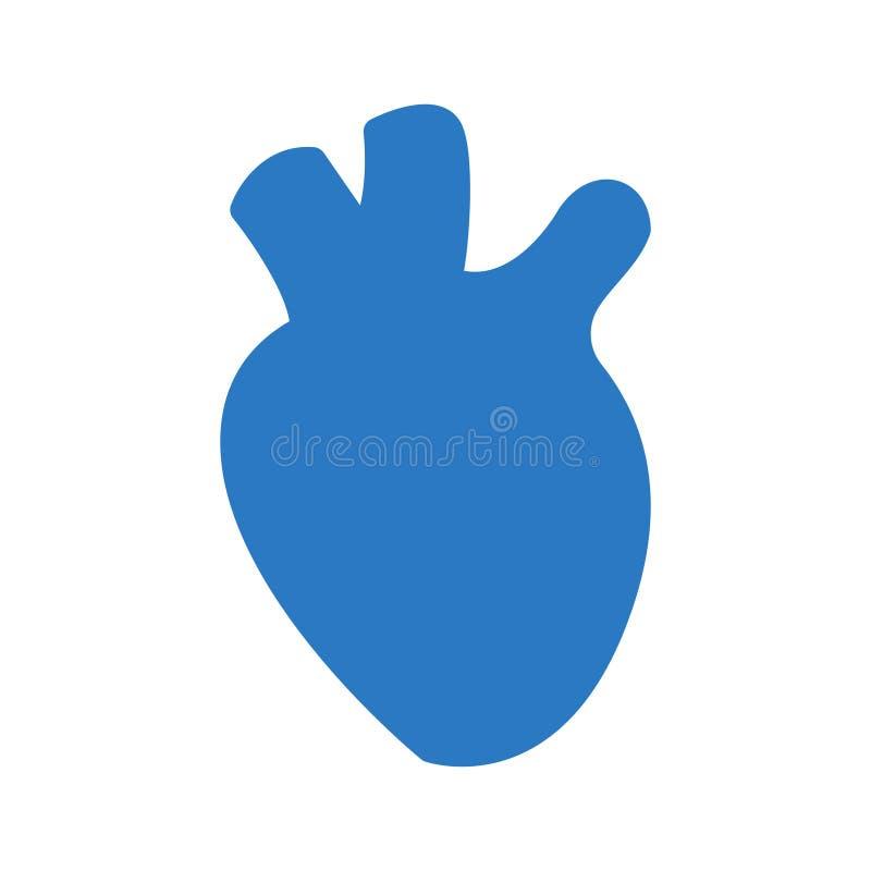 Ícone liso da cor do glyph do órgão do coração ilustração stock
