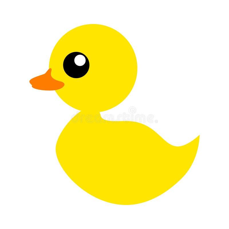 Ícone liso da cor do pato de borracha ou do brinquedo ducky do banho para apps e Web site Pato pequeno macio amarelo simples ilustração do vetor