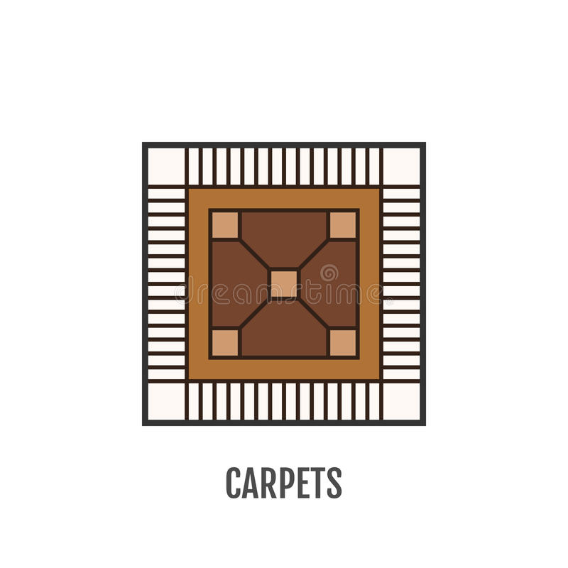 Ícone liso da cor do tapete flooring Vetor ilustração do vetor