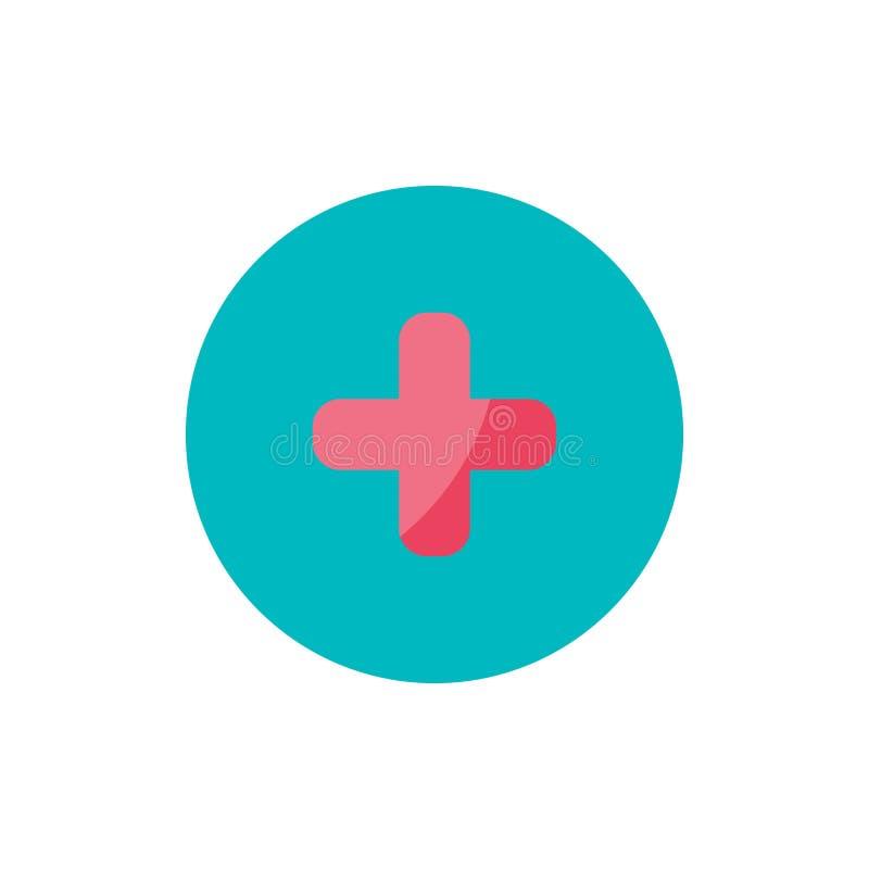 Ícone liso da cruz da medicina no círculo verde ilustração royalty free