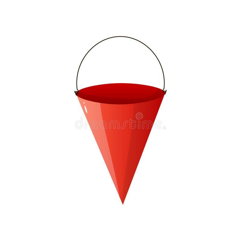 Ícone liso da cubeta de aço vermelha do cone do fogo isolado no fundo branco ilustração do vetor