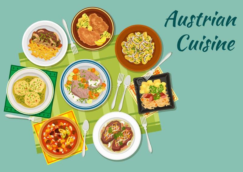 Ícone liso da culinária austríaca com pratos da carne ilustração stock