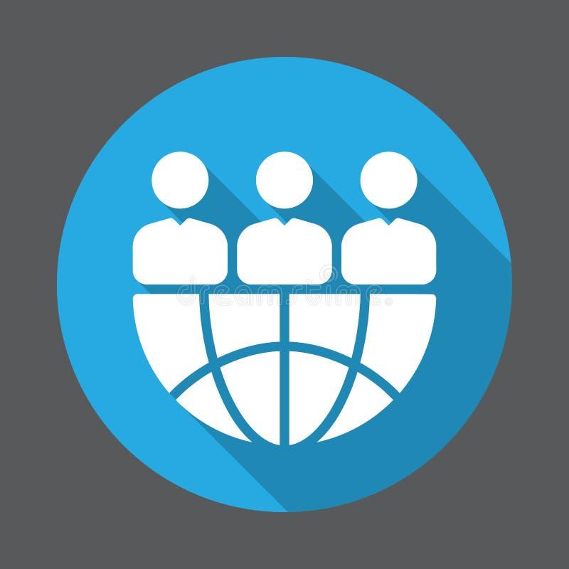 Ícone liso da equipe internacional Botão colorido redondo, sinal circular do vetor com efeito de sombra longo ilustração royalty free