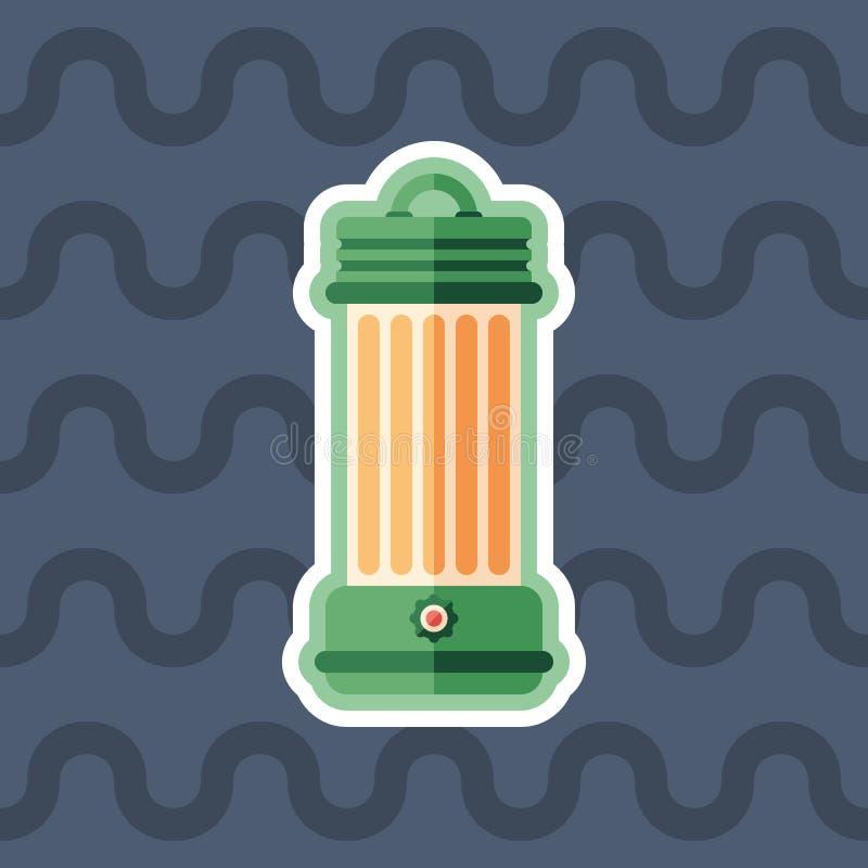 Ícone liso da etiqueta da lâmpada de querosene com fundo da cor ilustração do vetor