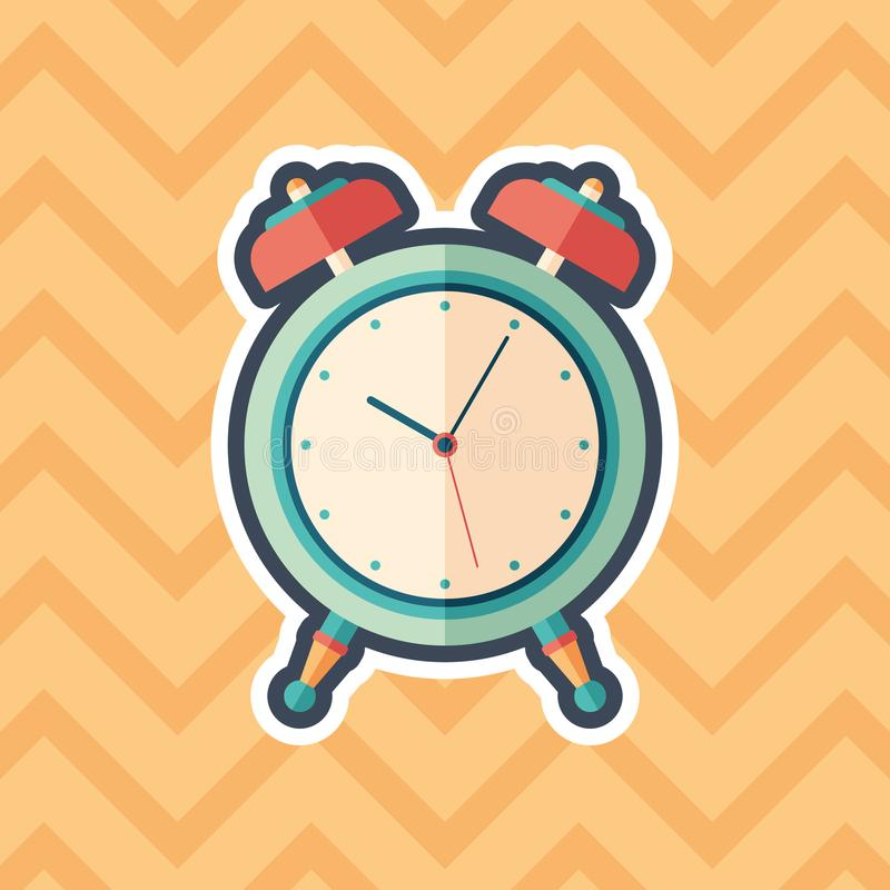 Ícone liso da etiqueta retro do despertador com fundo da cor ilustração royalty free