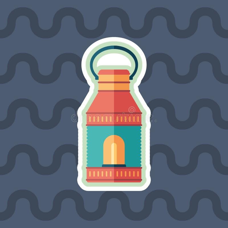 Ícone liso da etiqueta retro da lâmpada com fundo da cor ilustração do vetor