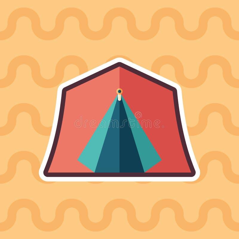 Ícone liso da etiqueta vermelha da barraca do turista com fundo da cor ilustração stock