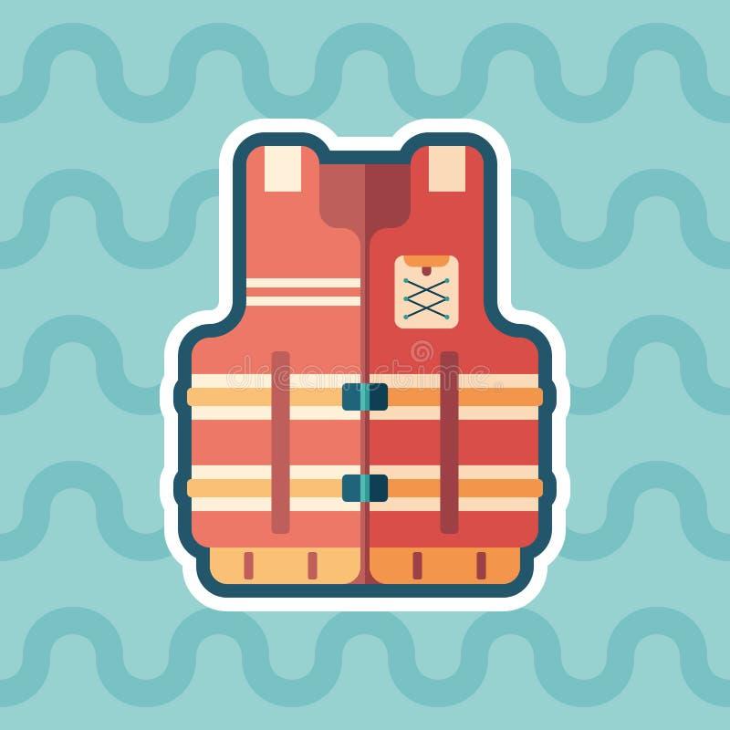 Ícone liso da etiqueta da veste de vida com fundo da cor ilustração do vetor
