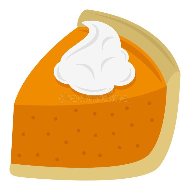 Ícone liso da fatia da torta do bolo isolado no branco ilustração do vetor