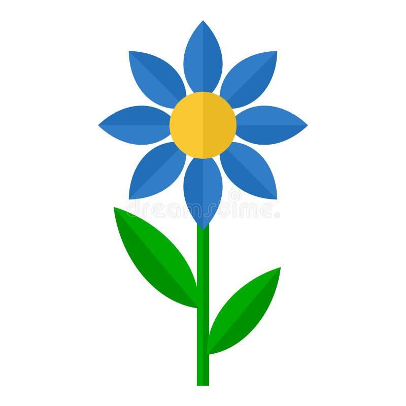 Ícone liso da flor azul isolado no branco ilustração royalty free
