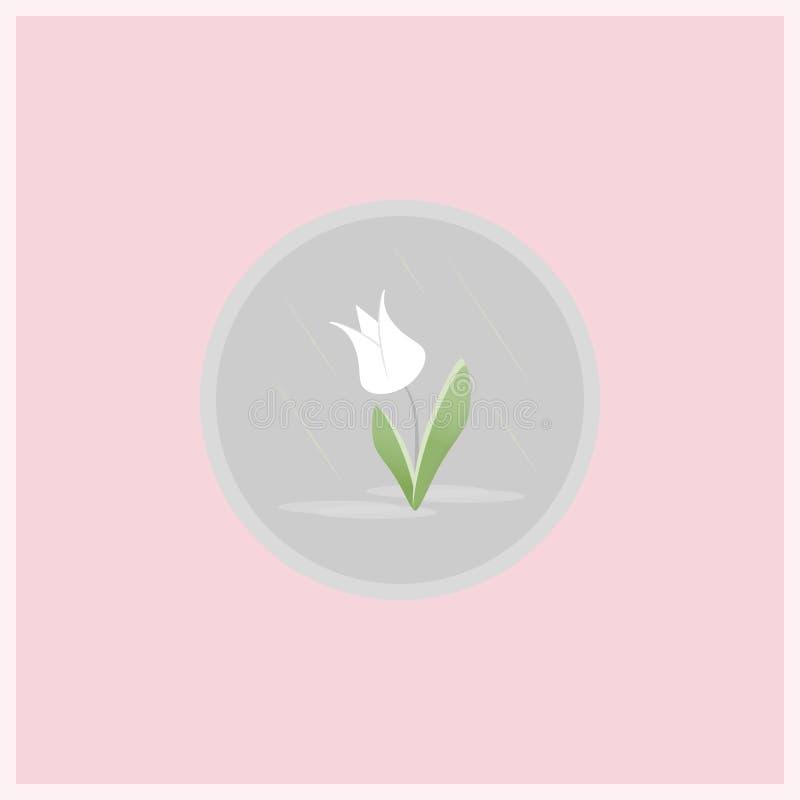 Ícone liso da flor da mola ilustração stock