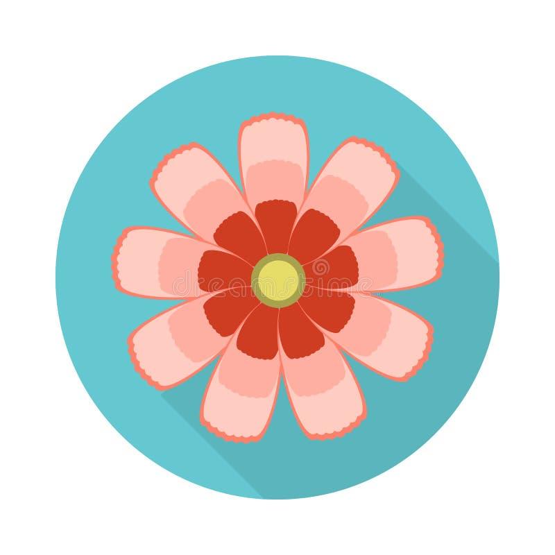 Ícone liso da flor do cosmos com sombra fotos de stock