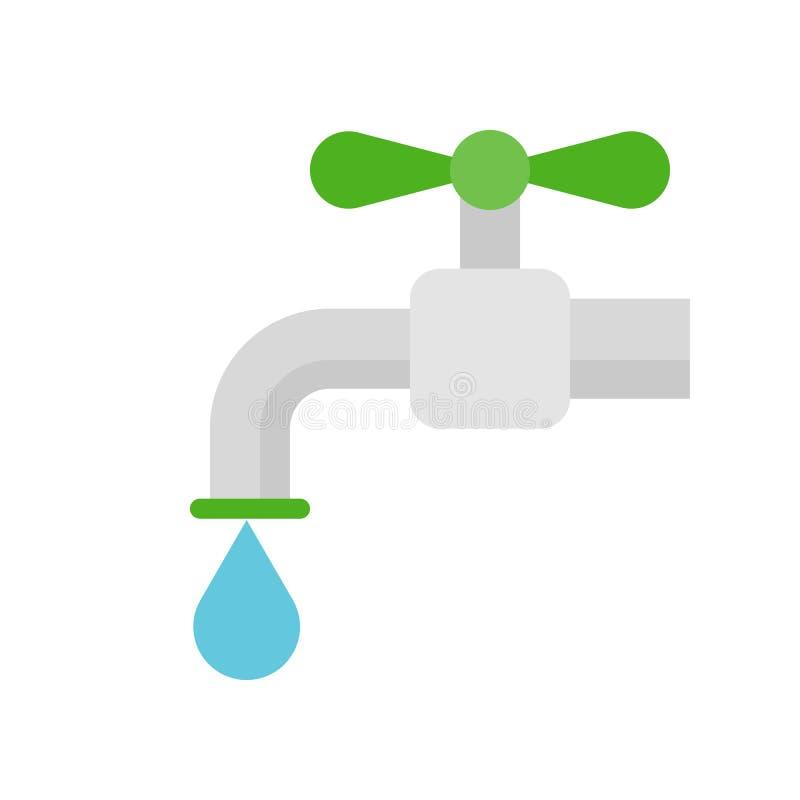 Ícone liso da gota do torneira e de água, conceito de salvamento da água ilustração do vetor