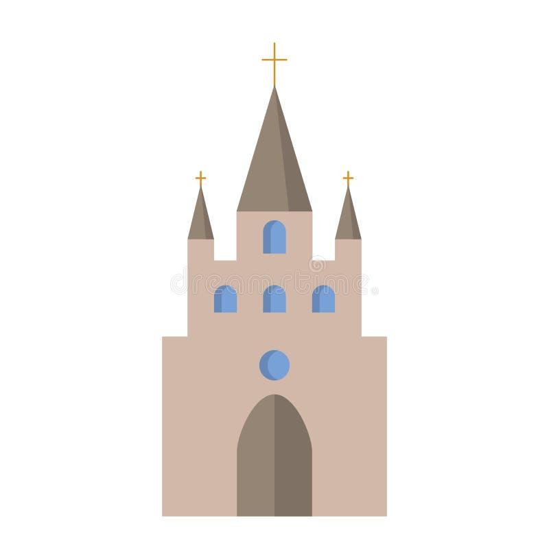 Ícone liso da igreja ilustração do vetor