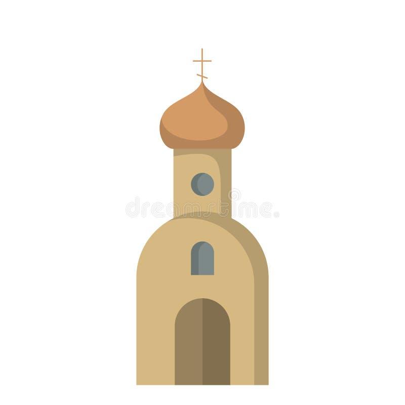 Ícone liso da igreja ilustração stock