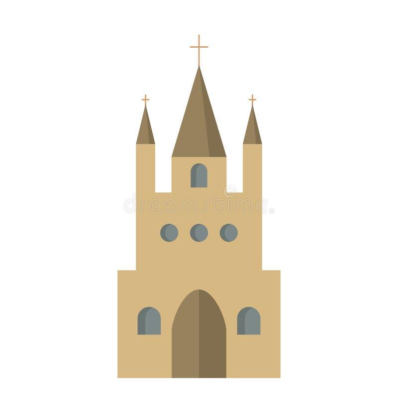 Ícone liso da igreja Católica ilustração do vetor