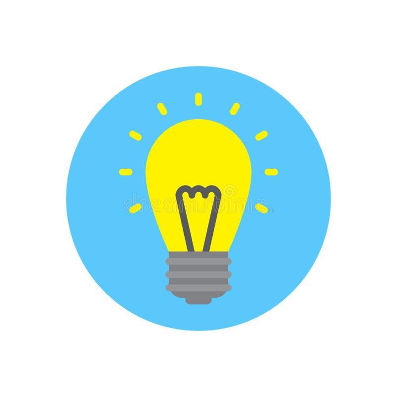 Ícone liso da lâmpada da ideia Botão colorido redondo, sinal circular bonde do vetor da ampola, ilustração do logotipo ilustração do vetor