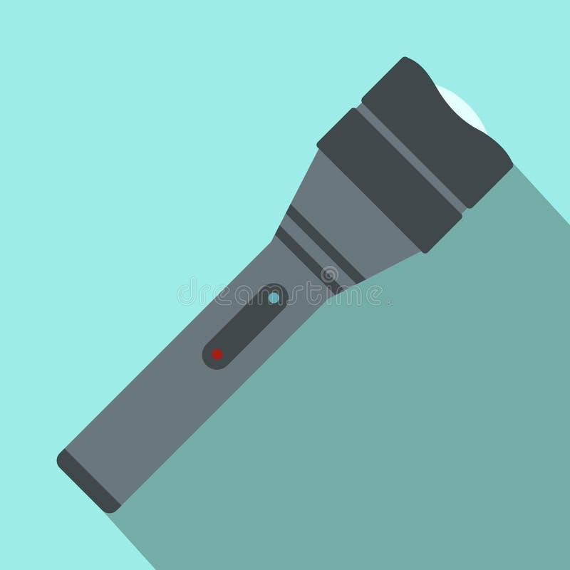 Ícone liso da lanterna elétrica preta ilustração do vetor