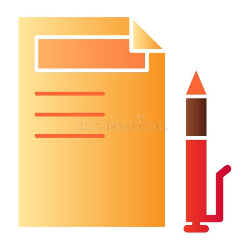 Ícone liso da lista do sinal Ícones da cor do papel e do lápis no estilo liso na moda Documento e projeto do estilo do inclinação ilustração do vetor