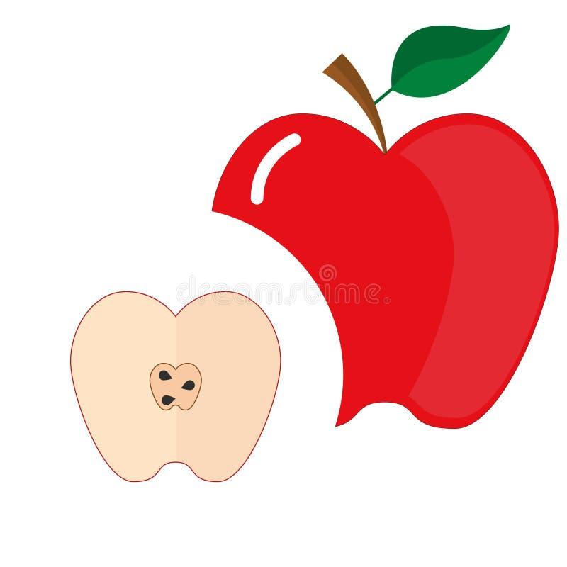 Ícone liso da maçã vermelha e suas metades com sementes ilustração do vetor
