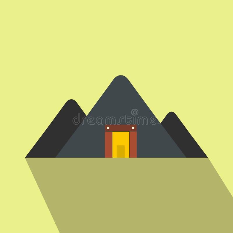 Ícone liso da mina da montanha ilustração royalty free
