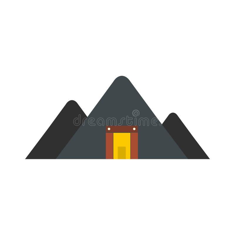 Ícone liso da mina da montanha ilustração stock