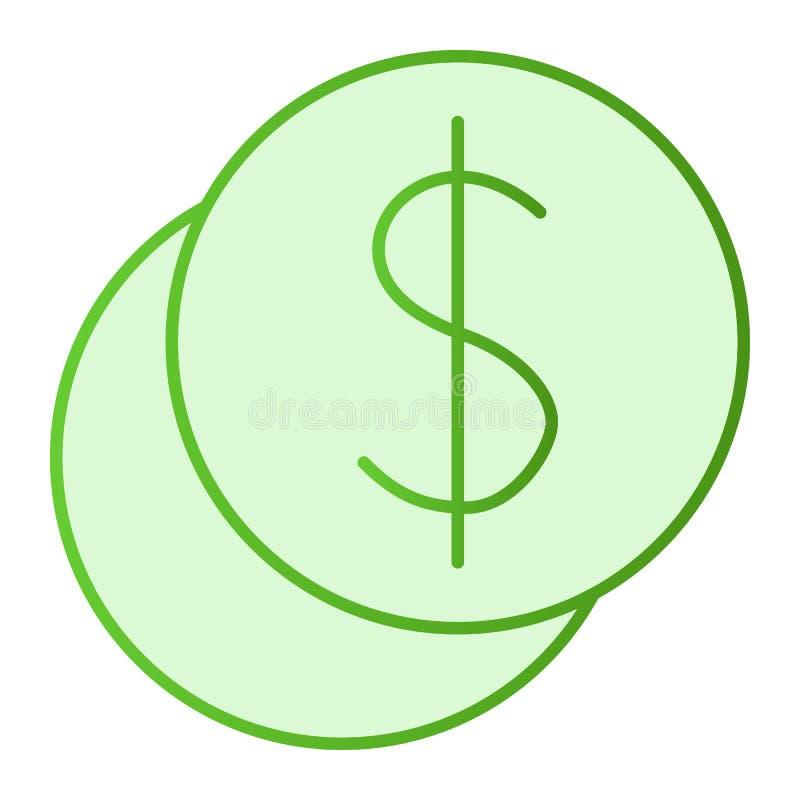 Ícone liso da pilha da moeda Ícones do verde do dólar no estilo liso na moda Projeto do estilo do inclinação das moedas do centav ilustração stock