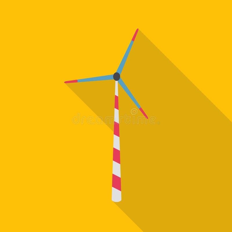 Ícone liso da planta de energias eólicas ilustração do vetor
