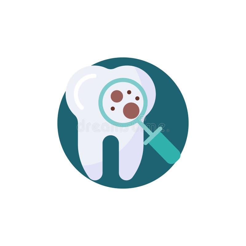 Ícone liso da proteção microscópica do dente das bactérias ilustração do vetor