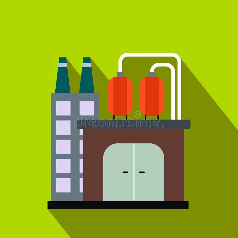 Ícone liso da refinaria de petróleo ou do central química ilustração royalty free