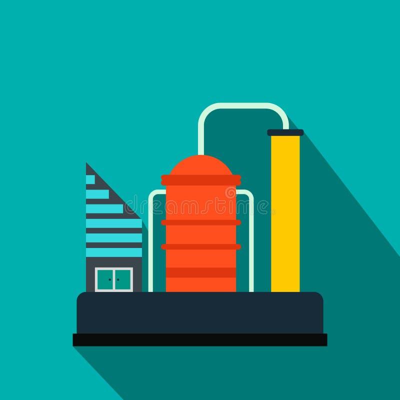 Ícone liso da refinaria de petróleo ou do central química ilustração stock