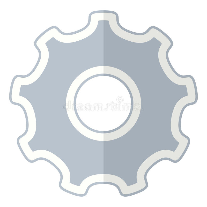 Ícone liso da roda de engrenagem da ferramenta isolado no branco ilustração do vetor