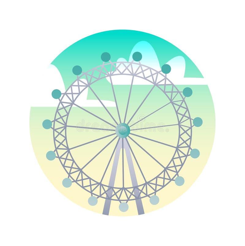 Ícone liso da roda de Ferris Olho conceito do marco de Londres, Inglaterra Ilustração para o página da web, app móvel, bandeira,  ilustração stock