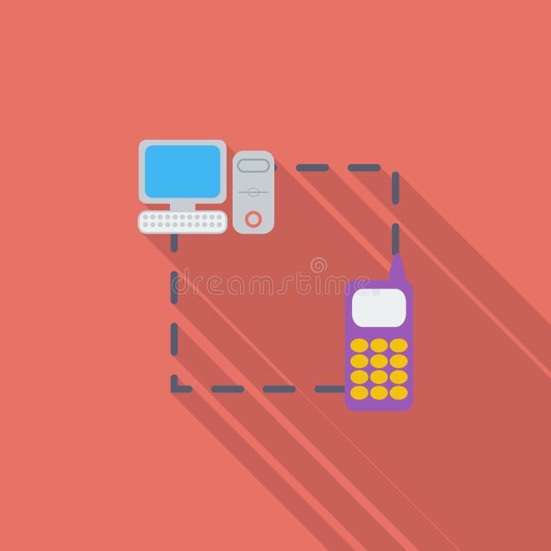 Ícone liso da sincronização do telefone único ilustração stock