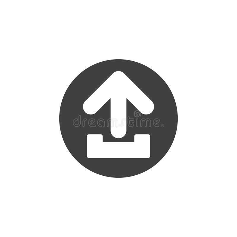Ícone liso da transferência de arquivo pela rede Botão simples redondo, sinal circular do vetor ilustração stock