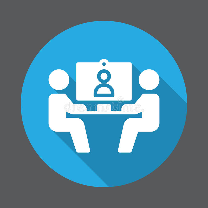 Ícone liso da videoconferência Botão colorido redondo, sinal circular do vetor com efeito de sombra longo ilustração royalty free