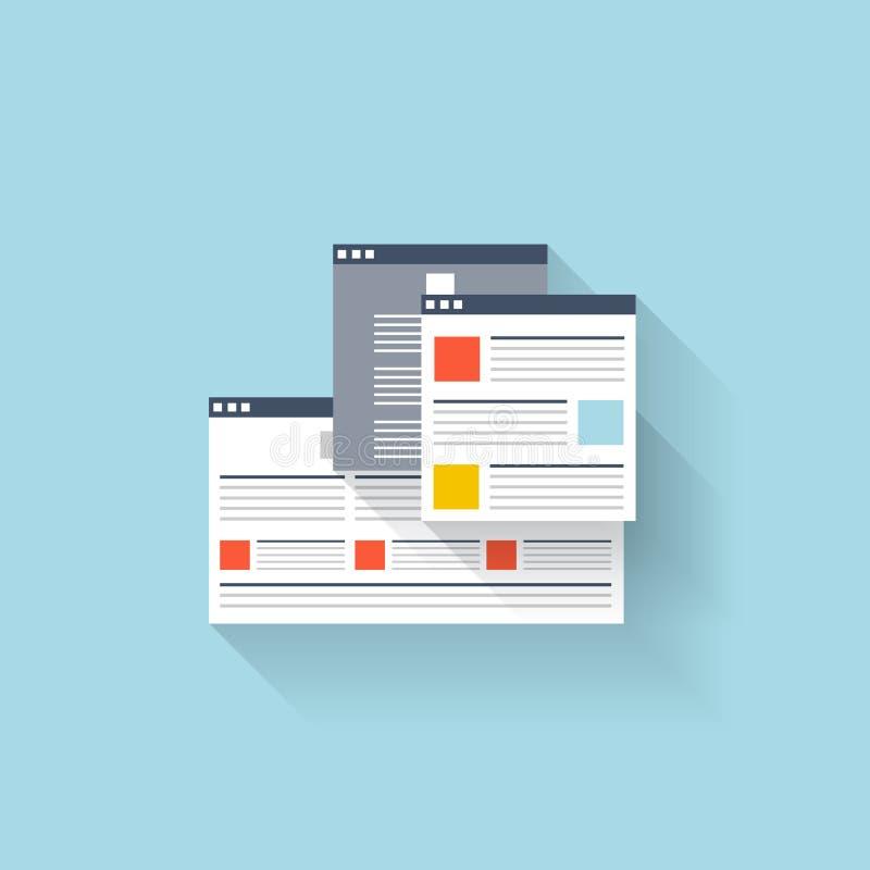 Ícone liso da Web Janela da relação do navegador ilustração do vetor