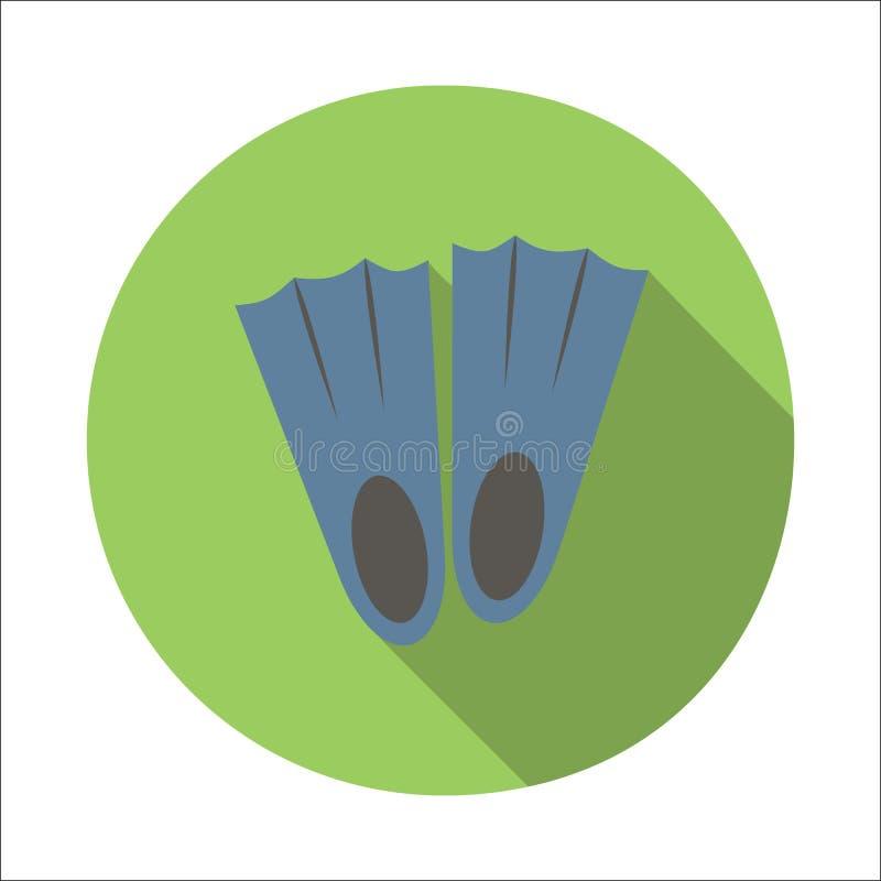 Ícone liso das aletas ilustração do vetor