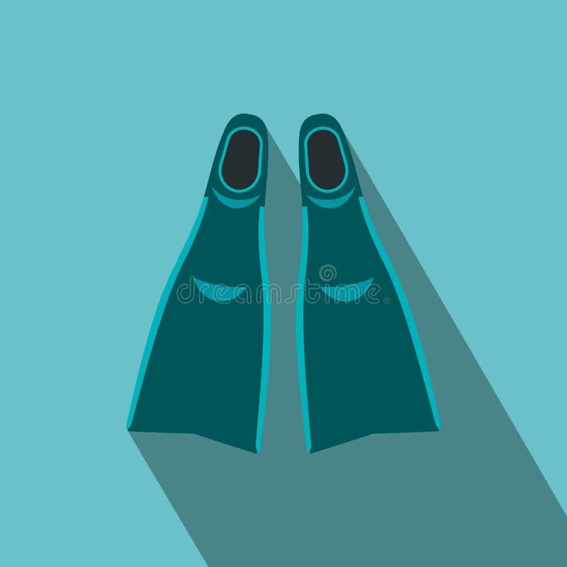Ícone liso das aletas azuis ilustração do vetor