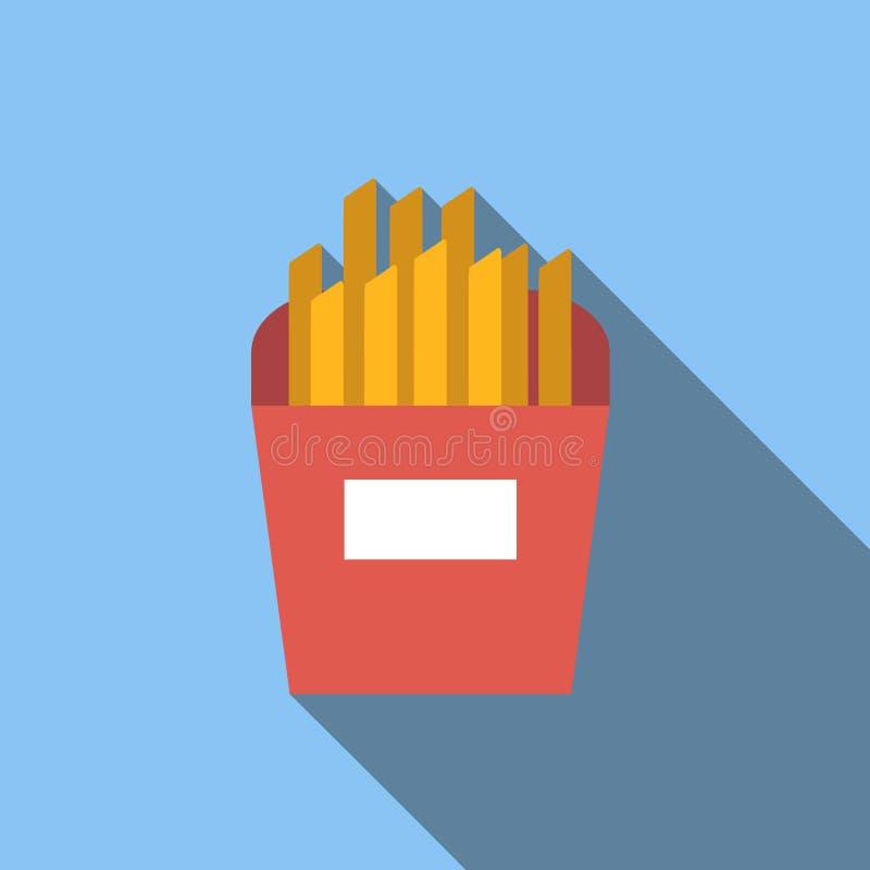 Ícone liso das batatas fritas ilustração royalty free