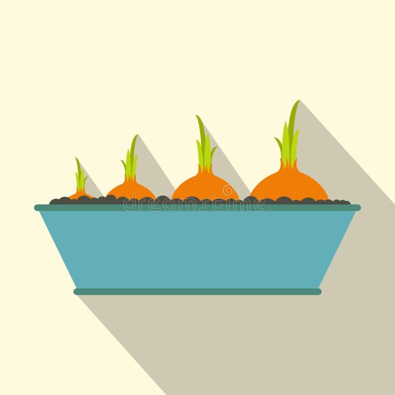 Ícone liso das cebolas com sombra ilustração do vetor