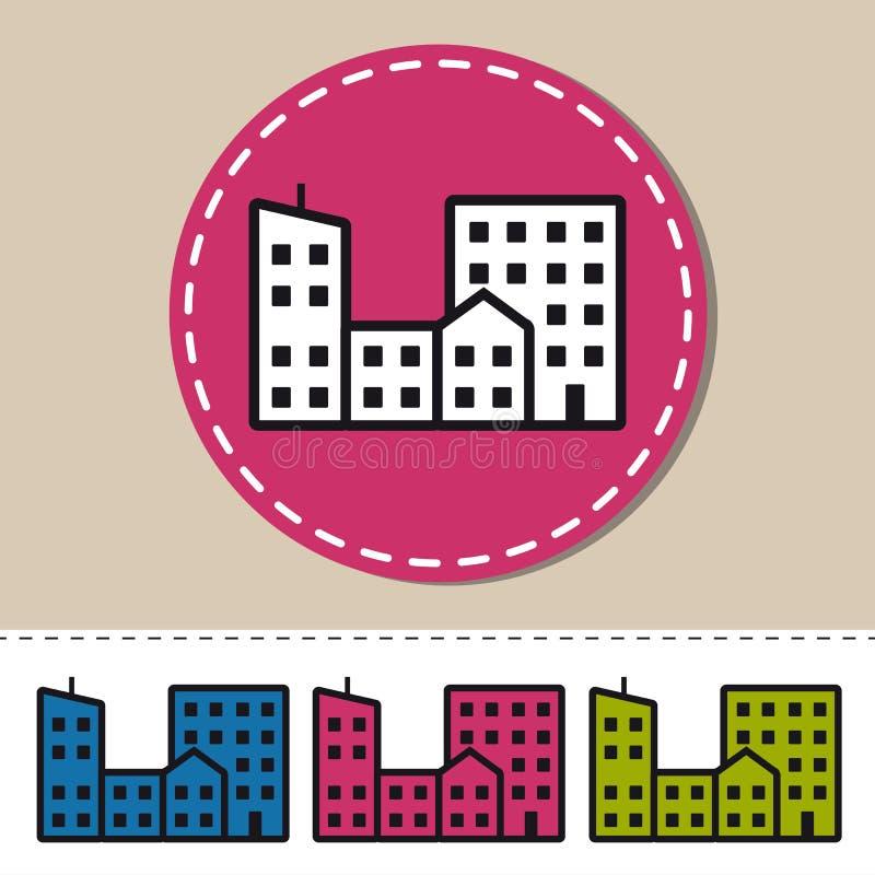Ícone liso das construções da cidade - ilustração colorida do vetor - isolado no branco ilustração do vetor