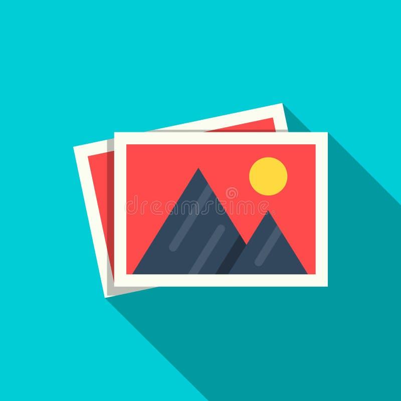 Ícone liso das imagens no stule liso com a sombra isolada no fundo azul Montanhas e sol nas fotos de papel ilustração do vetor
