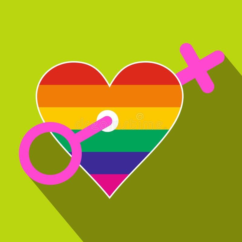 Ícone liso das mulheres homossexuais do amor ilustração do vetor