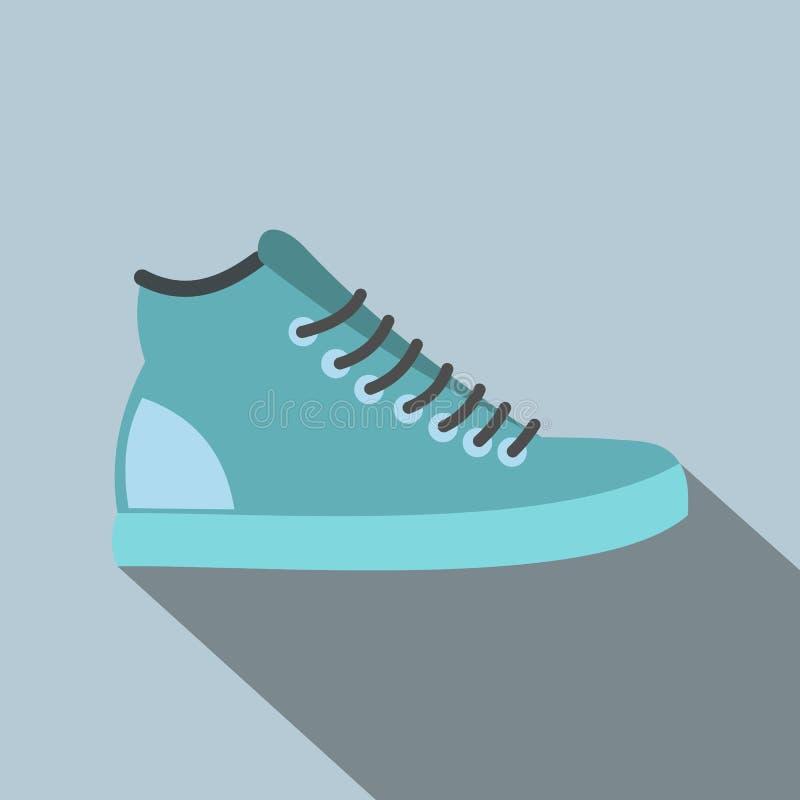 Ícone liso das sapatilhas azuis ilustração stock
