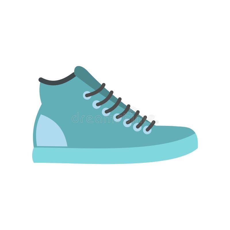 Ícone liso das sapatilhas azuis ilustração do vetor