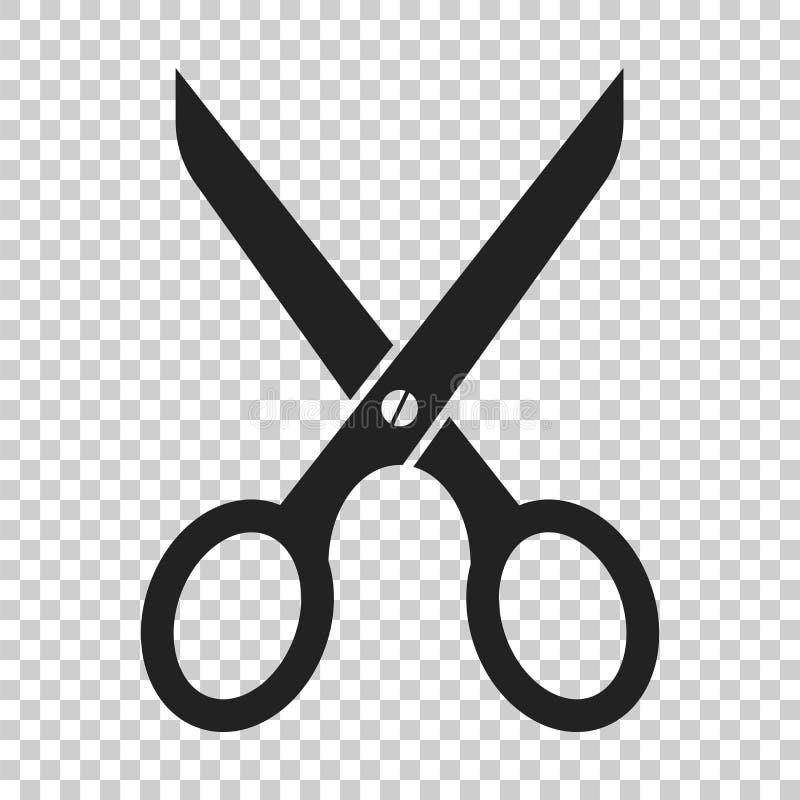 Ícone liso das tesouras Scissor a ilustração do vetor fotografia de stock